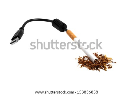 Close up of cigarette, USB cable and tobacco on a white background - stock photo