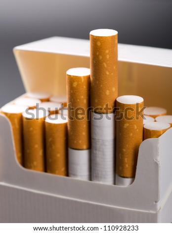 Close-up of cigarettes in pack
