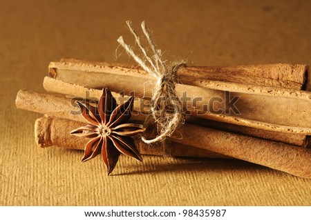 Close-up of cinnamon sticks and star anise