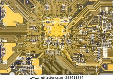 Close up of circuit board background - stock photo