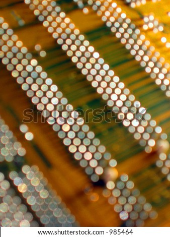 close-up of circuit board(electronic contacts as a twinkled objects out of depth of field)