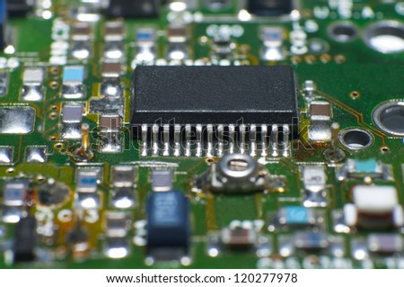 Close up of circuit board with electronic components