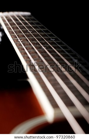 Close up of classic acoustic guitar