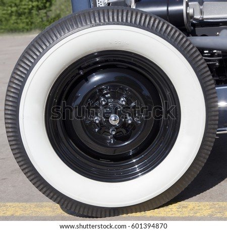 close up of classic white sidewall tire