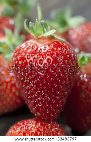 Close up of clean and fresh strawberry