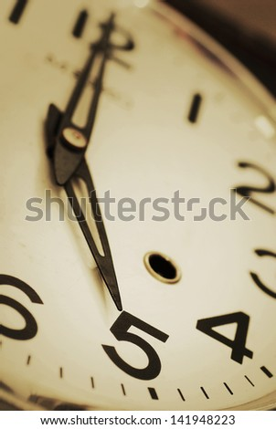 Close-up of clock face in vintage color