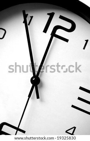 Close up of clock on white background