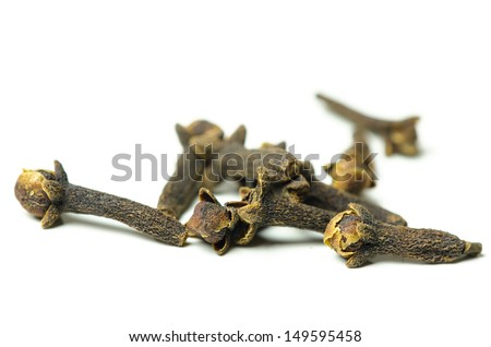Close up of clove spice over white background - stock photo