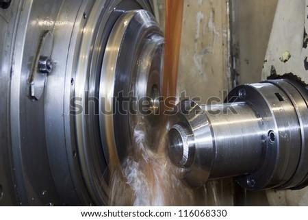Close up of CNC machine at work - stock photo