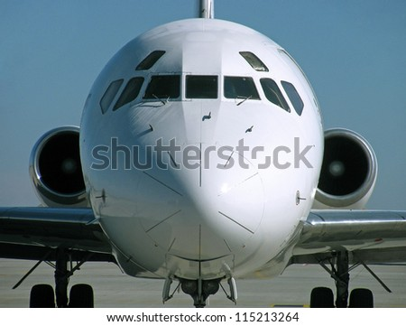 close up of cockpit of airplane - stock photo
