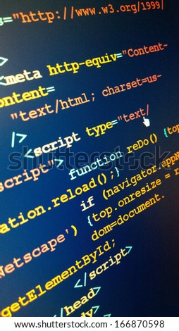 Close up of code on screen - stock photo