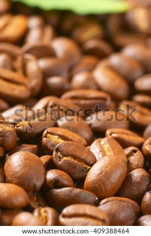 close up of coffee beans crop - full frame