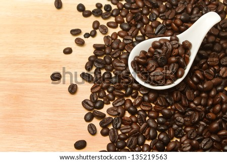 Close up of coffee Beans in white spoon on wooden background