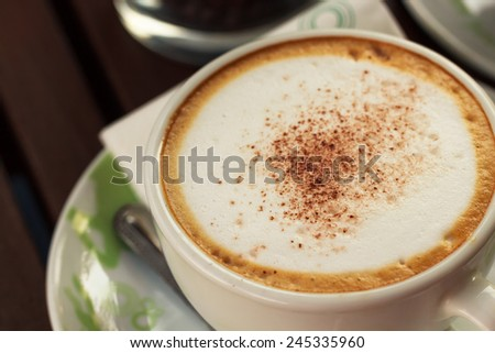 Close-up of Coffee,Cappuccino coffee cup - stock photo
