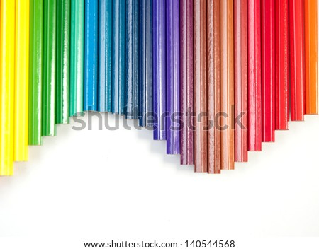 close up  of color pencils on white background - stock photo