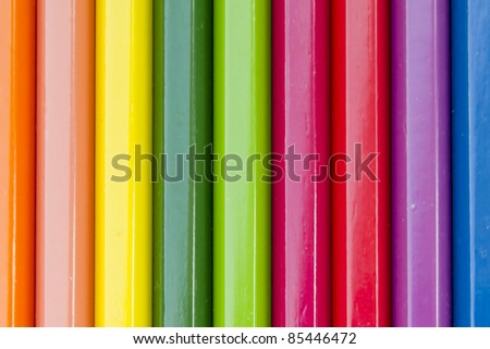 close up of color pencils on white background with clipping path - stock photo