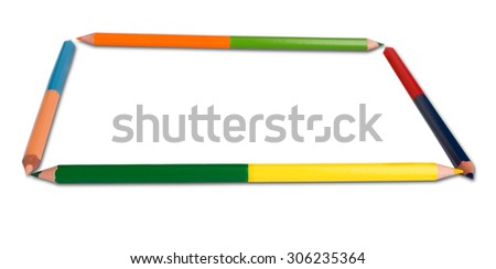 Close up of color pencils with different color over white background - stock photo