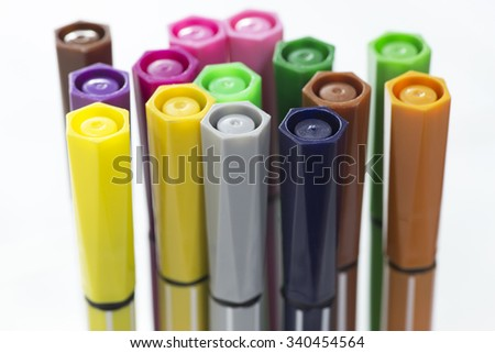 Close-up of color pens - stock photo