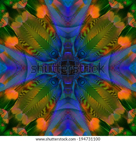 Close up of Colorful Background Pattern made from Macaw bird feathers - stock photo