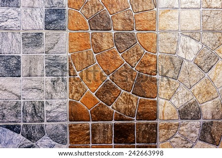 Close up of colorful  bathroom and wall decorated ceramic tiles - stock photo