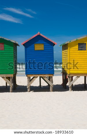 Close up of colorful beach huts near cape town - stock photo