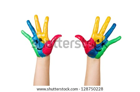 Close up of colorful child hands with happy faces isolated on white background - stock photo