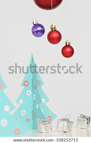 close up of colorful Christmas balls and suspended and on a Christmas tree