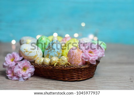 Close up of colorful Easter eggs in a nest