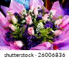 Close-up of colorful floral arrangements at a flower market. - stock photo