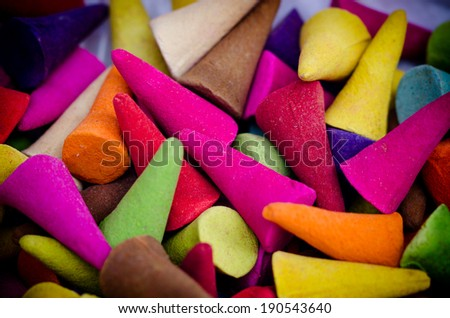 Close up of colorful incense corn