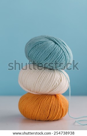 Close up of colorful skeins of yarn - stock photo