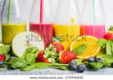 Close up of colorful smoothies with various ingredients.  Superfoods and healthy lifestyle or detox  diet food concept. - stock photo