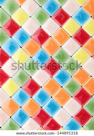 Close up of colorful tiles, texture  background - stock photo