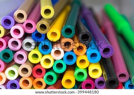 Close-up of colour pens - stock photo