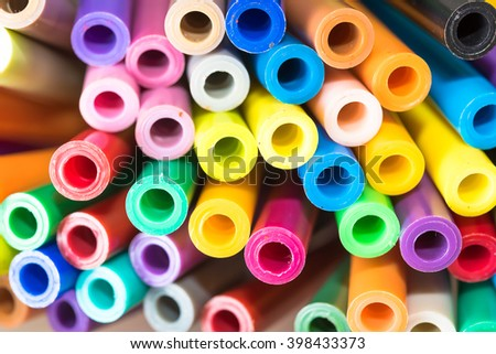 Close-up of colour pens - soft focus.