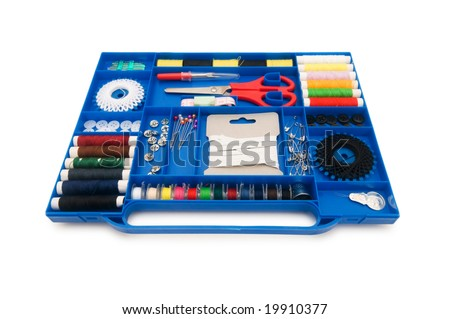 Close up of colourful sewing kit with many items