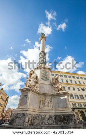 Close up of Column of the Immaculate Conception monument at Piazza di Spagna, Rome, Italy. - stock photo