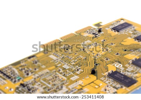 Close up of computer chip. Selective focus - stock photo
