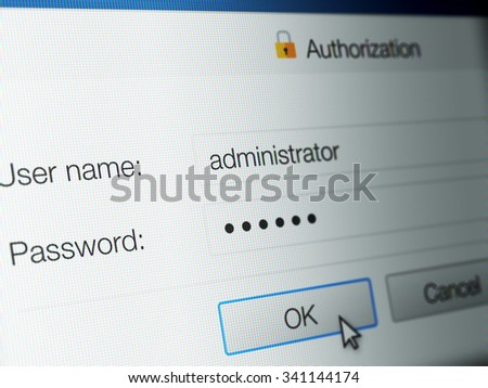 Close up of computer generated screen showing password login page - stock photo