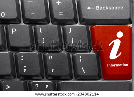 Close-up of Computer keyboard,  with Info key - stock photo