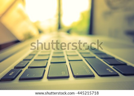 Close up of Computer laptop ( Filtered image processed vintage effect. ) - stock photo