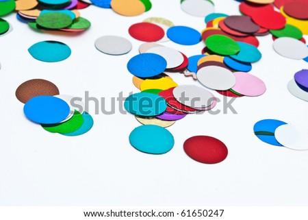 close up of confetti on white background - stock photo