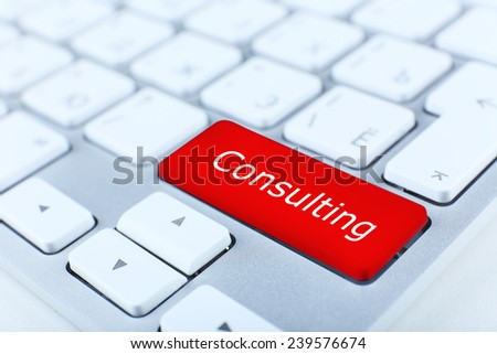 Close up of Consulting keyboard button - stock photo