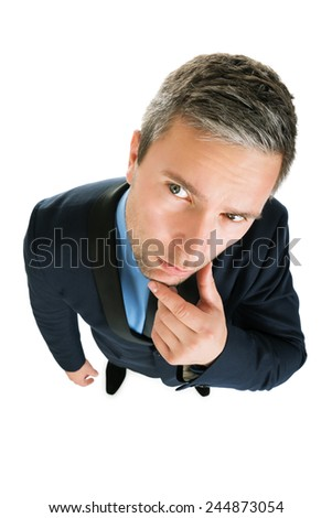 Close-up Of Contemplated Businessman On White Background - stock photo