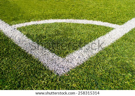 close up of corner of the soccer and football field - stock photo