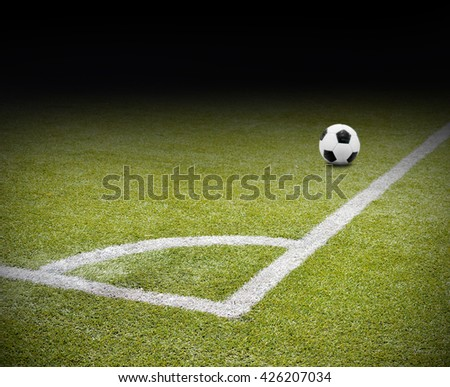 close up of corner of the soccer and football field and ball (with focus on the corner) - stock photo