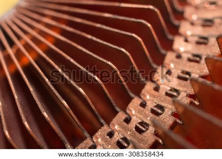 Close up of CPU computer heat sink. - stock photo