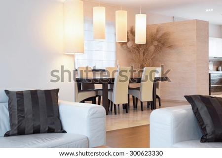 Close-up of cream furniture in luxury interior - stock photo