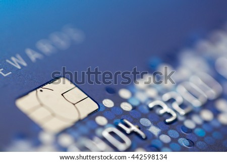 Close up of credit card . Macro shot ,Selective focus.