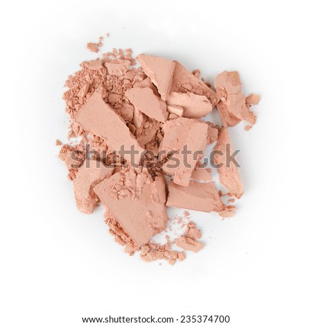 Close up of crushed cosmetic powder on white background - stock photo